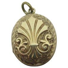 9k Gold Back Front Double Pendant Locket Antique Victorian c1880.