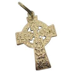 Ivy Leaves Celtic Cross Pendant 9k Gold Antique Victorian c1890.