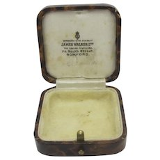 Faux Walnut Leather Brooch Pin Pendant Jewellery Box Vintage Art Deco c1920.