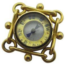 Compass 9k Gold Pendant Fob Charm Antique Victorian c1890.