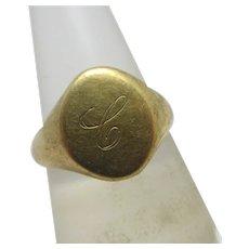 9k Gold Signet Ring Vintage English 1971