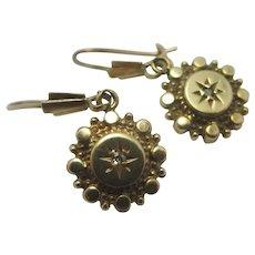 Diamond 9k Gold Dangling Ear Pendant Earrings Antique Victorian c1890.