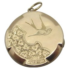 Swallow Bird & Forget Me Not 9k Gold & Back Front Pendant Locket Antique Edwardian c1910.