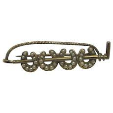 Seed Pearl Horseshoe Riding Crop 15k Gold Brooch Pin Antique Victorian c1860.
