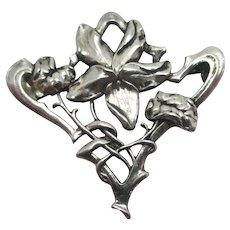 Art Nouveau Flower Sterling Silver Brooch Pin Antique c1900.