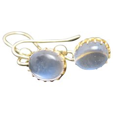 Cabochon Moonstone 9k Gold Dangling Pendant Earrings Antique Victorian c1890.