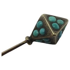 Pave Set Turquoise 15k Gold Stick Pin Brooch Antique Victorian c1860.