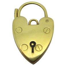 Heart Padlock Findings 9k Gold Antique Victorian c1890.