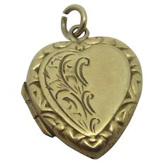 Heart Double Pendant Locket 9k Gold Chester Vintage English 1959.