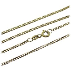 "9k Gold Curb Link Chain Necklace 53.5cm / 21"" Vintage English c1980."