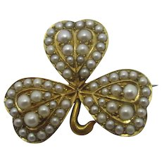 Lucky Shamrock Seed Pearl 15k Gold Brooch Pin Antique Victorian c1860.