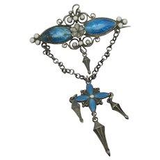 Marius Hammer Style Enamel Sterling Silver Dangling Brooch Pin Vintage Art Deco c1920