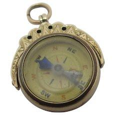Compass & Carnelian Seal Flip Watch Fob Pendant 9k Gold Antique Edwardian English 1909.