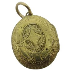 Mourning Hair 18k Gold Buckle Pendant Locket Antique Victorian c1880.