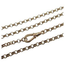 "9k Rose Gold Chain Necklace Cable Link 60.7cm / 23.8"" Vintage English."