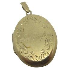 Jennifer 9k Gold Double Pendant Locket Vintage English 1975.