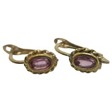 Alexandrite in 10k Gold Ear Pendant Earrings Vintage Art Deco c1920.