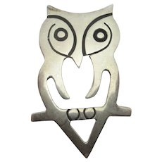 Owl Bird Sterling Silver Brooch Pin Vintage 1997