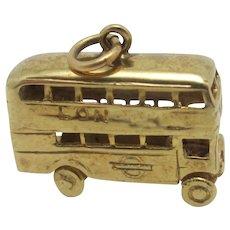 London Double Decker Bus 9k Gold Pendant Charm Vintage English 1970.