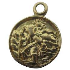 Tiny St Christopher 9k Gold Pendant Charm Vintage English 1980.