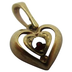 Garnet 9k Gold Heart Pendant Charm Vintage c1970.