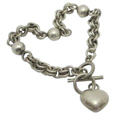 Heart Pendant Charm Sterling Silver Bracelet Vintage English.