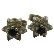Faux Sapphire & Diamond 9k Gold Stud Earrings Vintage English 1985.