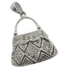 Diamond Studded 14k White Gold Handbag Purse Pendant Charm Vintage c1980.