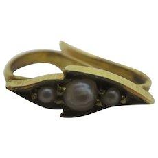 Seed Pearl 14k Gold Pendant Bale Hook Findings Vintage Art Deco c1920.