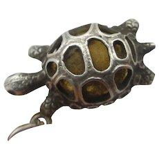 Nuvo Tortoise Sterling Silver Pendant Charm Vintage c1960