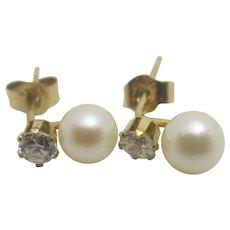 Pearl Faux Diamond 9k Gold Earrings Vintage c1980.