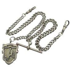 Football Shield Pendant Fob Sterling Silver Watch Chain Vintage Art Deco English 1927.