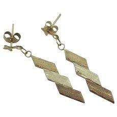 3 Colour 9k Gold Dangling Ear Pendant Earrings Vintage c1980.