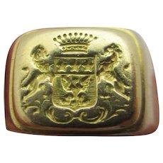 Intaglio Eagle Star Lion Family Crest 18k Gold Signet Ring Vintage Art Deco c1920.