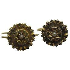Seed Pearl 15k Gold Ear Pendant Earrings Antique Victorian c1860.