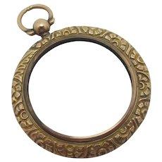 Embossed 9k Gold Pendant Locket Antique Victorian c1890.