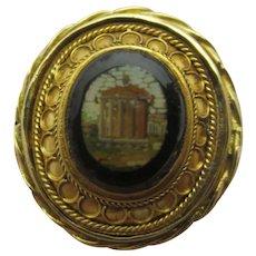 Ancient Ruin Grand Tour Antique Georgian c1820 Micro Mosaic 18k Gold Ring.