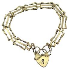 3 Bar Gate Bracelet Heart Padlock 9k Gold Vintage English 1973.