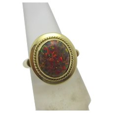Reconstituted Real Opal 14k Gold Ring Vintage c1990.