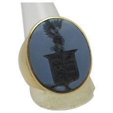 Intaglio Sardonyx Crest Seal 18k Gold Signet Ring Antique Victorian c1860