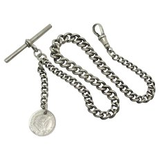 South African Coin Pendant Fob Sterling Silver Watch Chain Antique Edwardian English 1918.