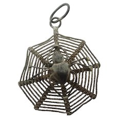 Spider in Web Sterling Silver Pendant Charm Vintage c1970
