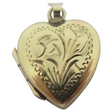 Heart Double Pendant Locket 9k Gold Vintage English 1970