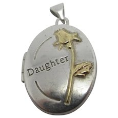 Daughter Sterling Silver Pendant Locket 9k Gold Rose Vintage c1980