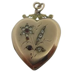 Forget Me Not Flower Heart 9k Gold Back & Front Pendant Locket Antique Edwardian c1910