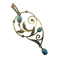 Turquoise & Seed Pearl 9k Gold Dangling Pendant Lavalier Antique Victorian c1890