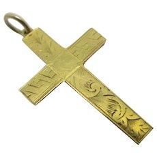 9k Gold Cross Pendant Antique Edwardian c1910
