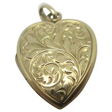 Fern Leaves 9k Gold Heart Pendant Locket Vintage English 1964