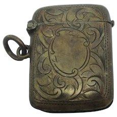 English Sterling Silver Vesta Match Case Antique Edwardian 1906