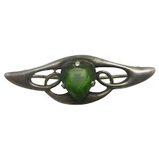 Green Paste Heart Sterling Silver Brooch Pin Charles Horner Antique Art Nouveau 1911